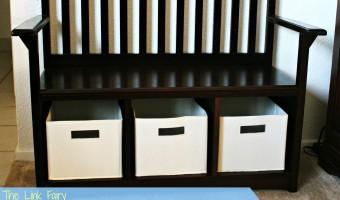 Kid friendly organization with the Guide Craft Espresso Storage Bench!