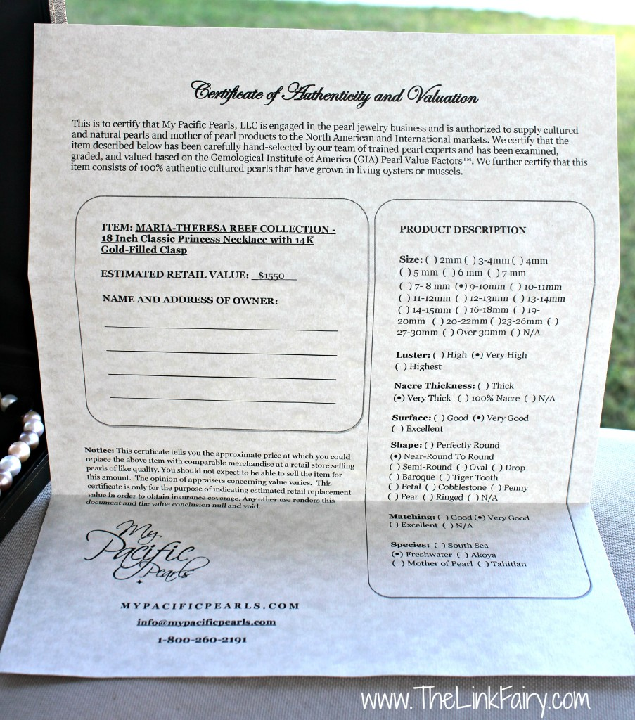 My Pacific Pearls Certificate of Authenticity