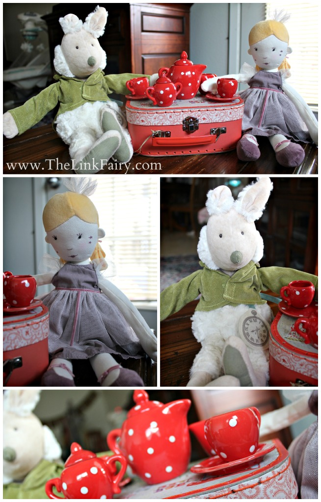 Moulin Roty Alice's Rabbit Doll and La Princesse Enchantée Doll and red ceramic tea set