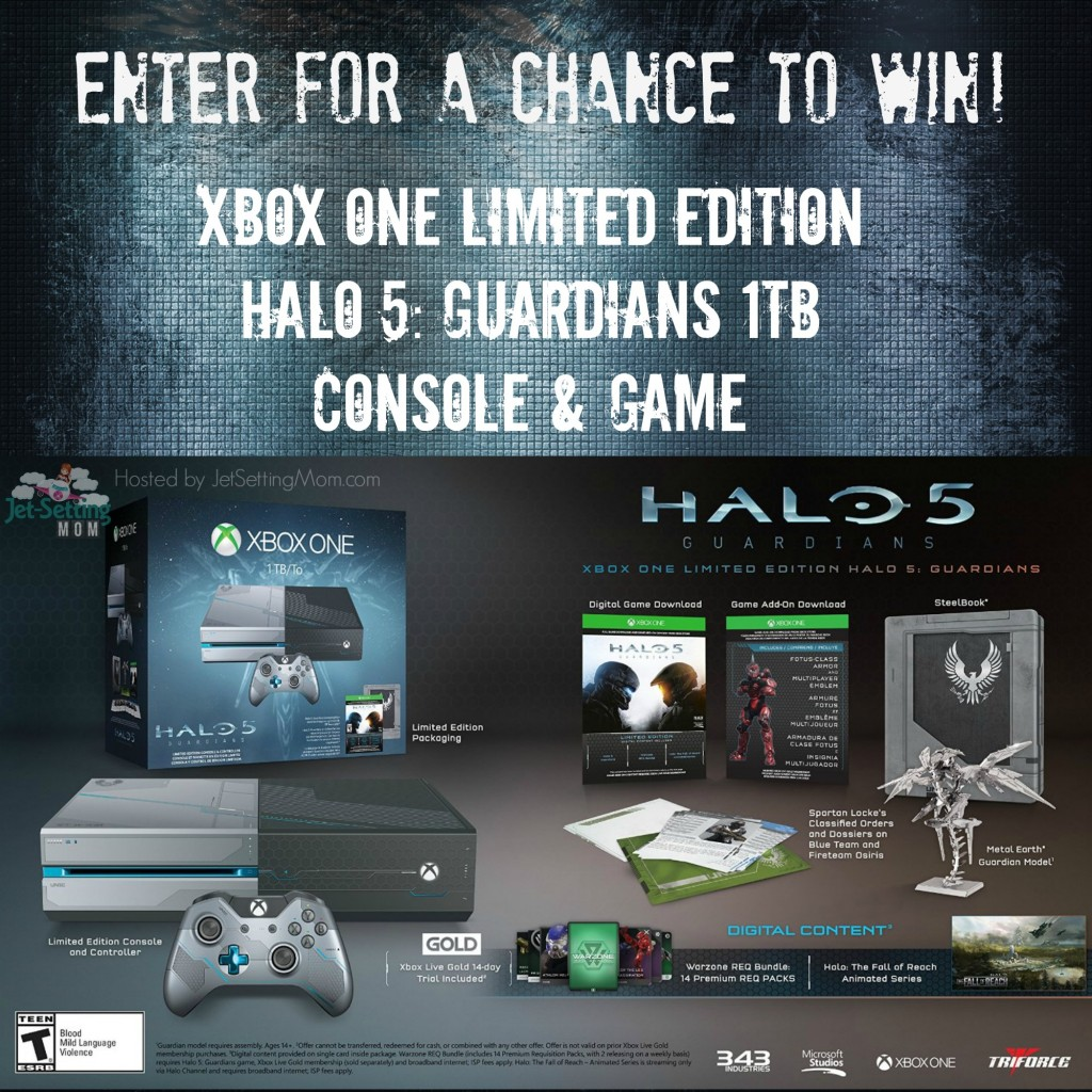 Enter to win a new XBOX ONE Halo 5 Guardians edition console at JetSettingMom.com!