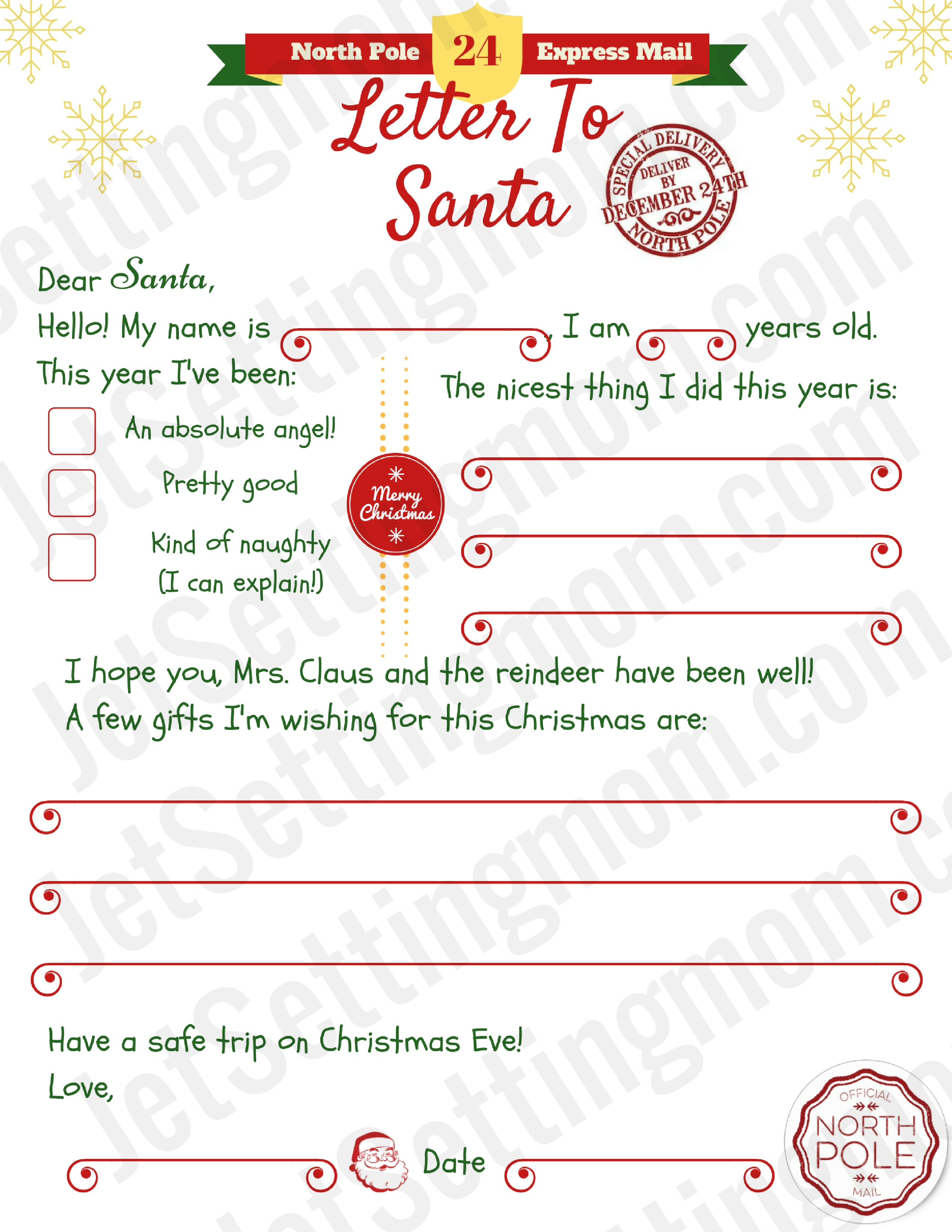 Free Printable Letter to Santa Template   Writing To Santa Made Easy!
