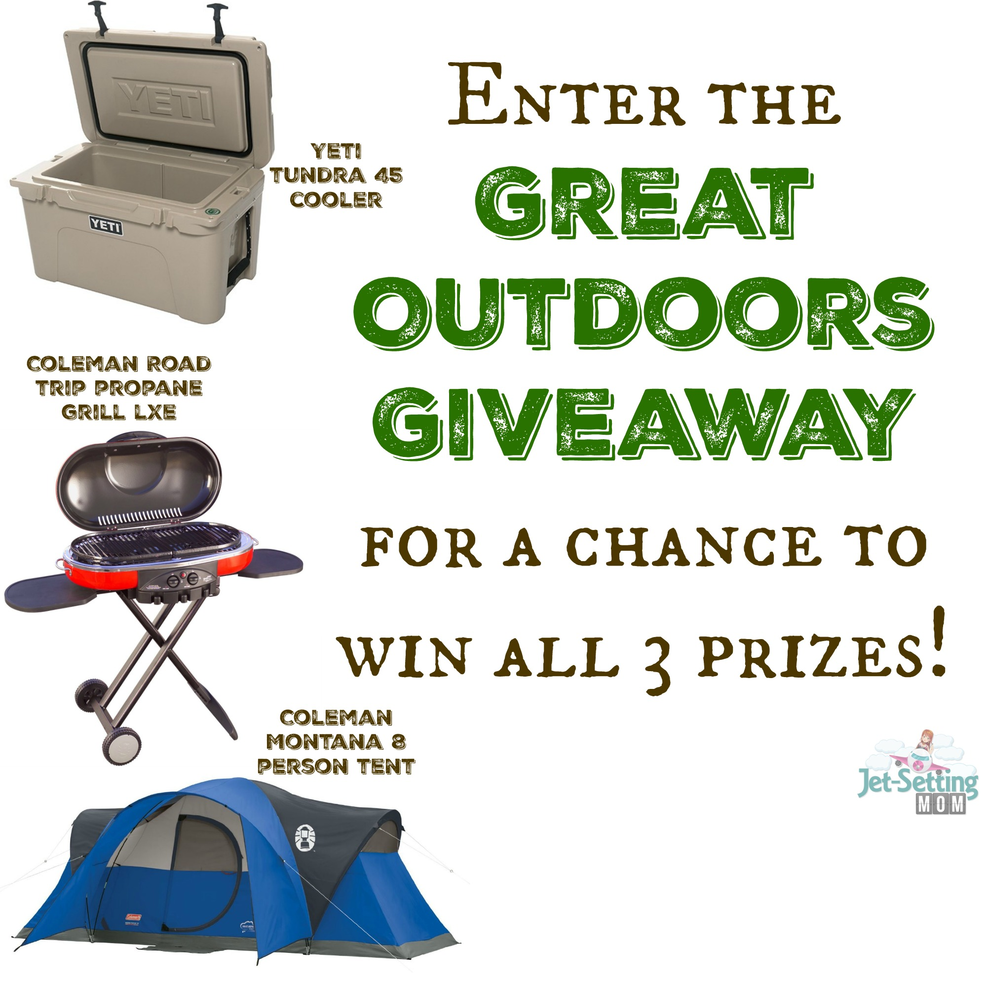 Enter the great outdoors giveaway for a chance to win a yeti cooler. coleman grill and tent!